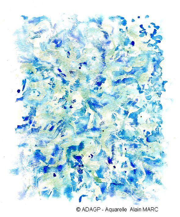 Aquarelle d'une étude du bleu de l'aragonite de Malaval...