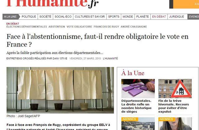 Face à l'abstentionnisme, faut-il rendre obligatoire le vote en France? Après la faible participation aux élections départementales…