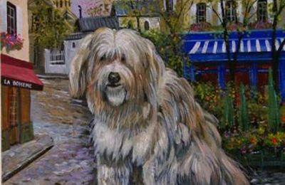 Le cadeau de Pierre Michigan, Artiste-Peintre de Montmartre, à Apple, Chien de Montmartre