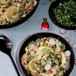 Salade de pommes de terre et crevettes marinées au pesto de céleri