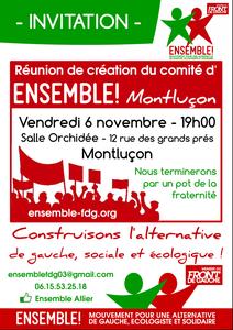 """Réunion publique initiée par """"Ensemble"""" en vue de la création d'un collectif  sur Montluçon"""