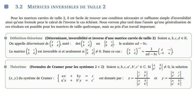 POST BAC - Matrices et systèmes linéaires