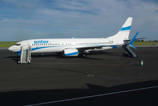 On commence par une première à Octeville, le Boeing 737Max SP-ESG de la compagnie polonaise Enter Air.