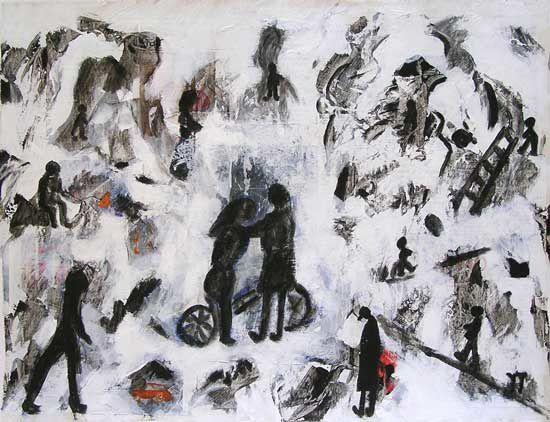 Beaucoup de couleurs, beaucoup de lignes, beaucoup de formes, beaucoup de matières : la peinture d'Yvonne Thoumyre ne fonctionne pas à l'économie. Plutôt à la générosité...