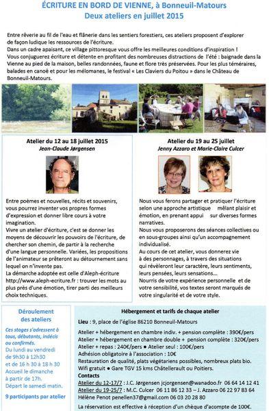 2 ateliers d'écriture en juillet à Bonneuil-Matours 86210