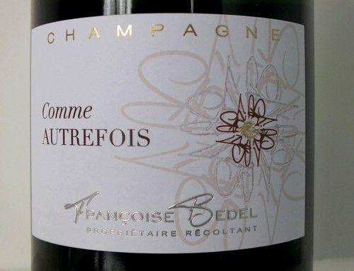 """Champagne """"Comme Autrefois"""" Francoise Bédel, extra brut, 2003"""