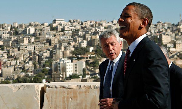Barack Obama and Chuck Hagel, who were Senate colleagues at the time, at the Amman Citadel in Jordan in July 2008.