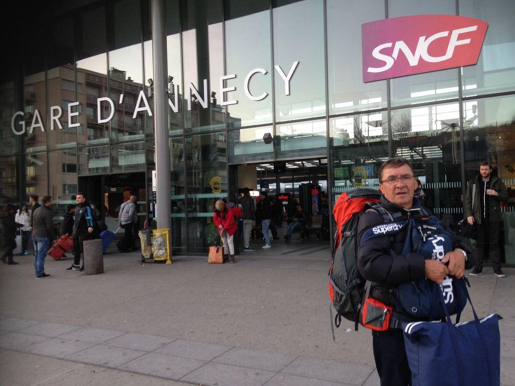 Aéroport de NEGOMBO, (Colombo), vols retour en Europe, massif du Mont-Blanc, arrivée à Genève puis bus et train jusqu'à Annecy