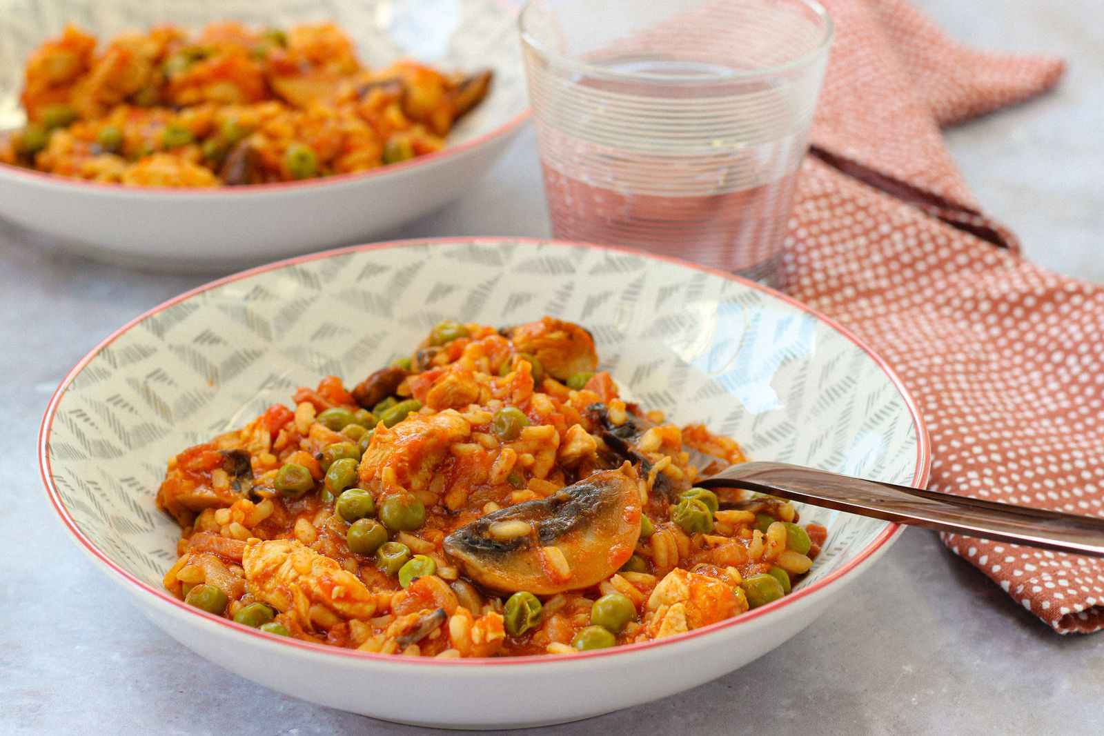 risotto tomate poulet petits pois cookeo