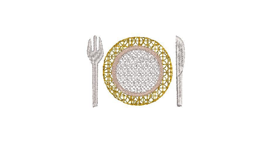 BRODERIE ASSIETTE COUVERTS