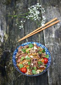 Nouilles sautées aux légumes du soleil et au canard