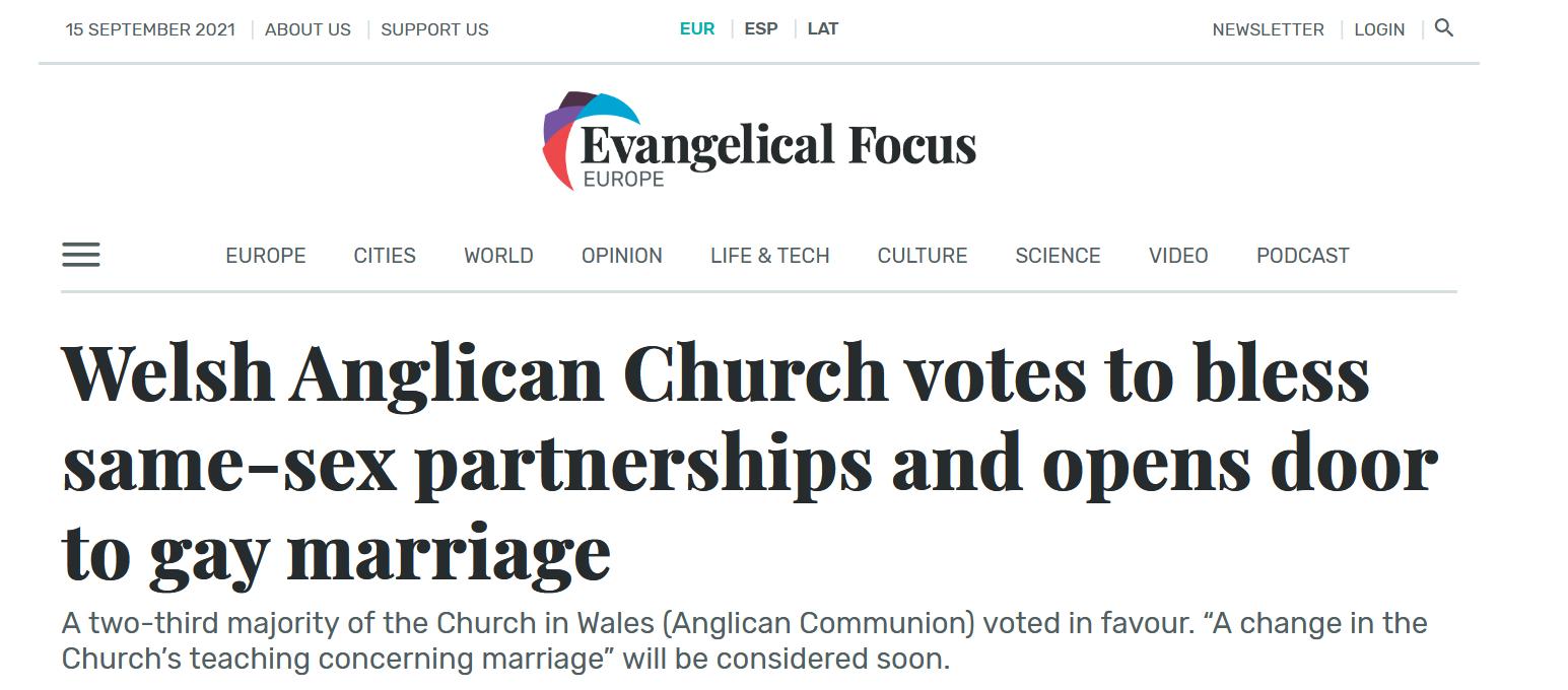 L'Église anglicane du Pays de Galles se prononce pour la bénédiction des unions LGBT