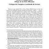 Bêtise et exégèse dans l'Éloge de la Folie d'Érasme. Critique de l'exégèse et méthode de lecture - Persée