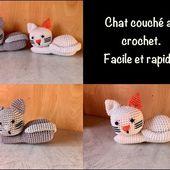 Tuto chat couché au crochet