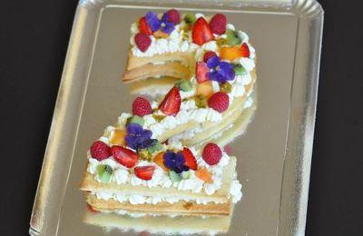 Number cake (pâte sucrée à l'amande, crème diplomate mascarpone vanille)