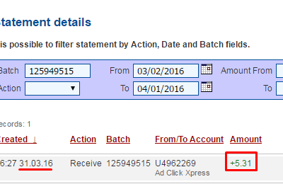 My payment proof from ACX