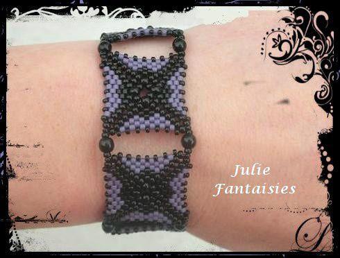 Bracelet Asteride Noir et mauve
