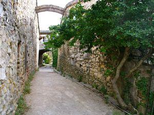 Les arceaux sont très présents dans les rues de Cliousclat, de même que les fragments de poterie dans les murs.