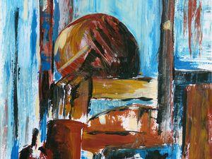Peinture de Jeanine Mandille, et sa réinterprétation au trait (Cliquez pour agrandir).