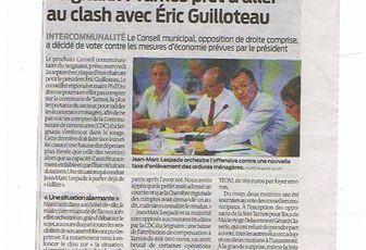 LESPADE, LE PARTI COMMUNISTE et Mme DUFAU veulent le Clash avec Eric GUILLOTEAU !