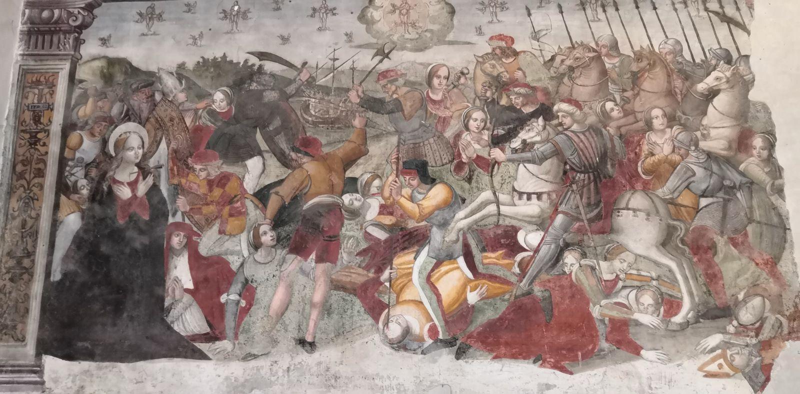 The Martyrdom of Saint Ursula, Fresco, 16th century