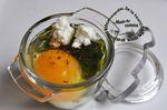 Oeuf à la coque épinards et brousse en coc-pot (cuit oeuf en pyrex)
