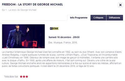 GEORGE MICHAEL  FREEDOM   LA STORY  CE SOIR SUR CSTAR !!