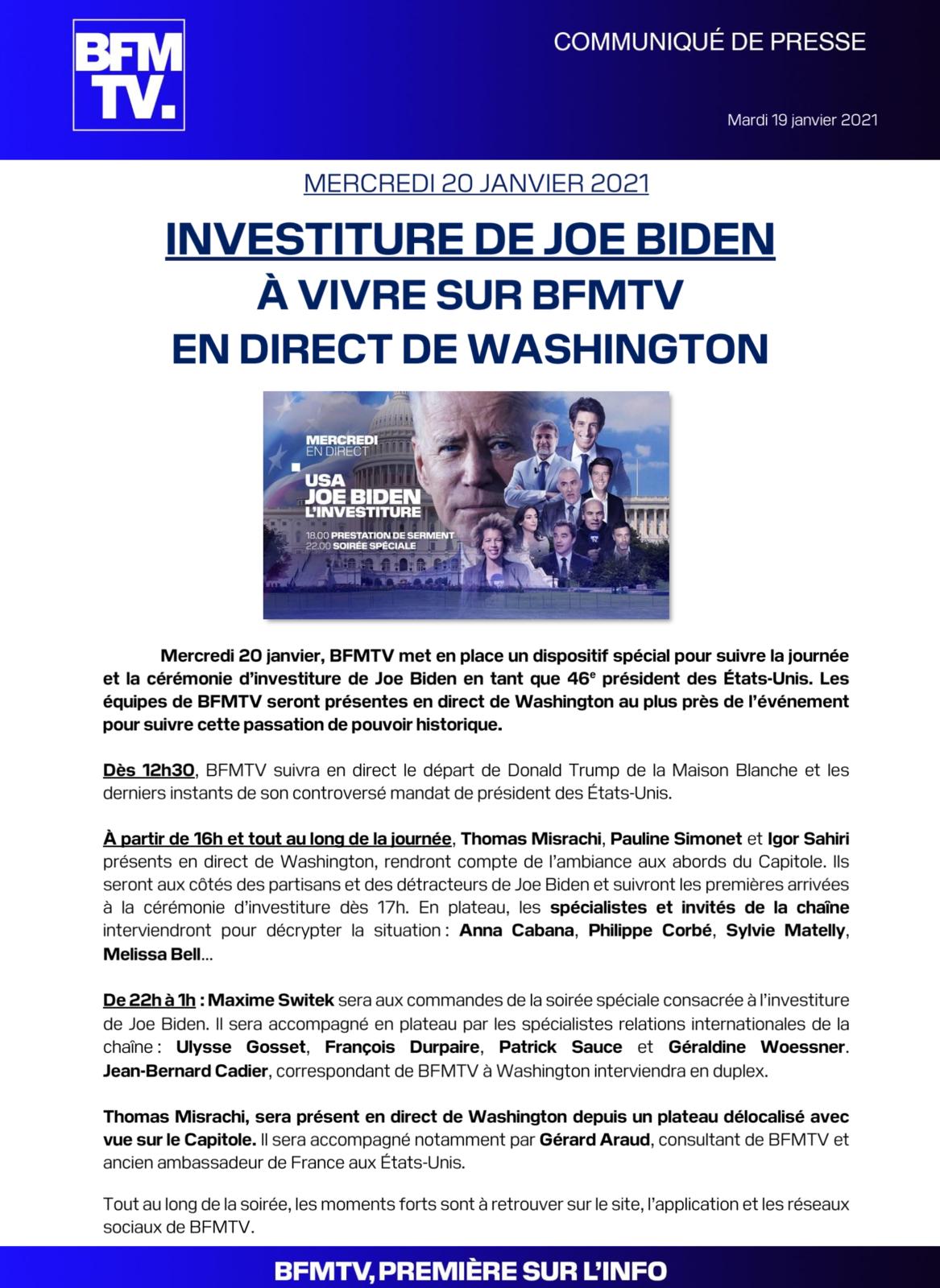 Investiture de Joe Biden ce mercredi à Washington : le dispositif de LCI, CNews et BFMTV.