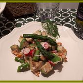 Salade Avocat, Radis, Asperges et Crabe - Oh, la gourmande..