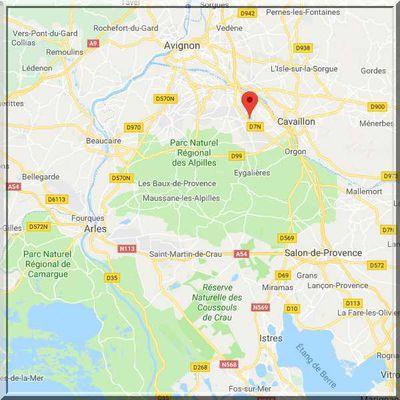 Bouches du Rhône - Saint Andiol - Position église fortifiée sur carte