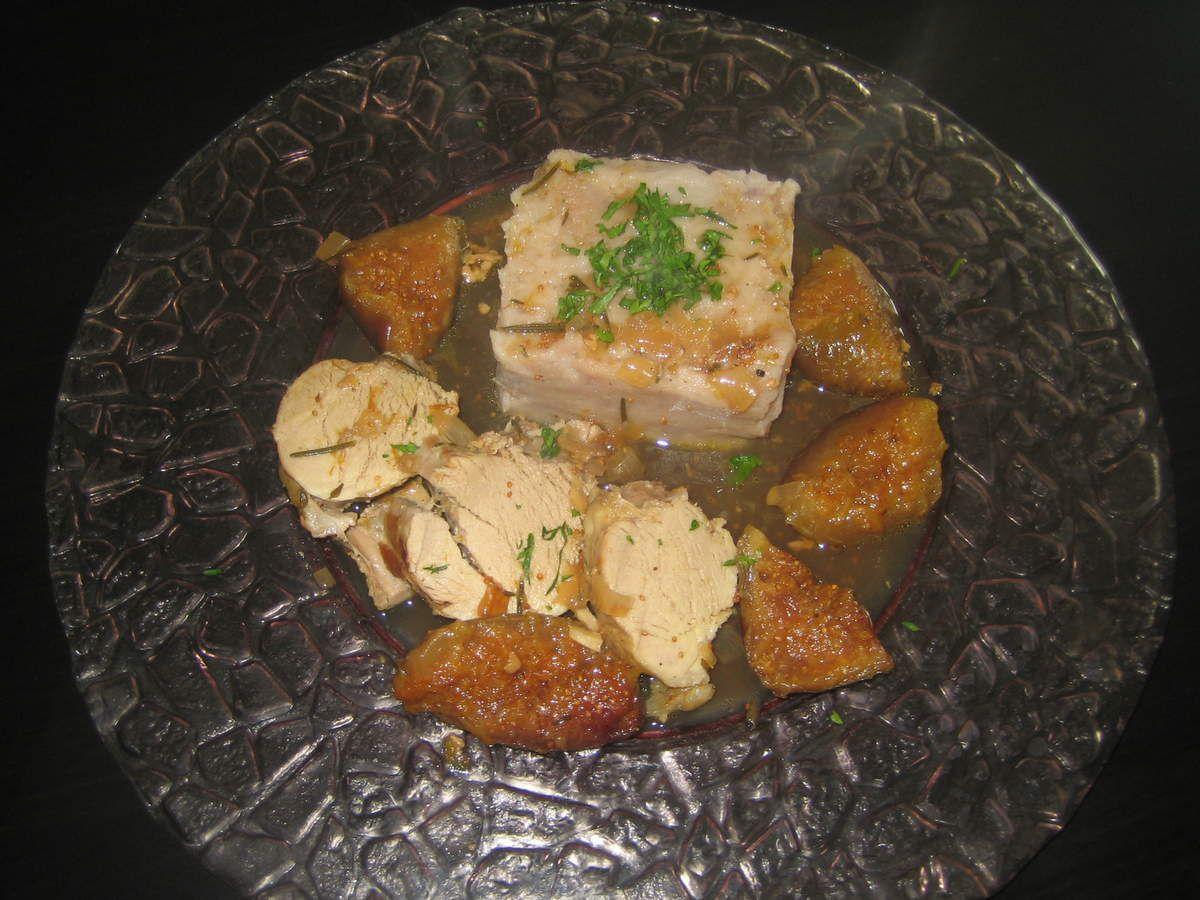 Filet mignon en cocotte aux figues et au miel et purée maison de pommes de terre