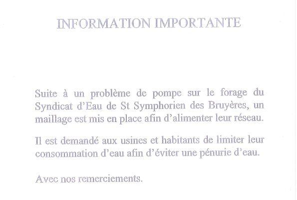 INFORMATION IMPORTANTE DE LA MAIRIE