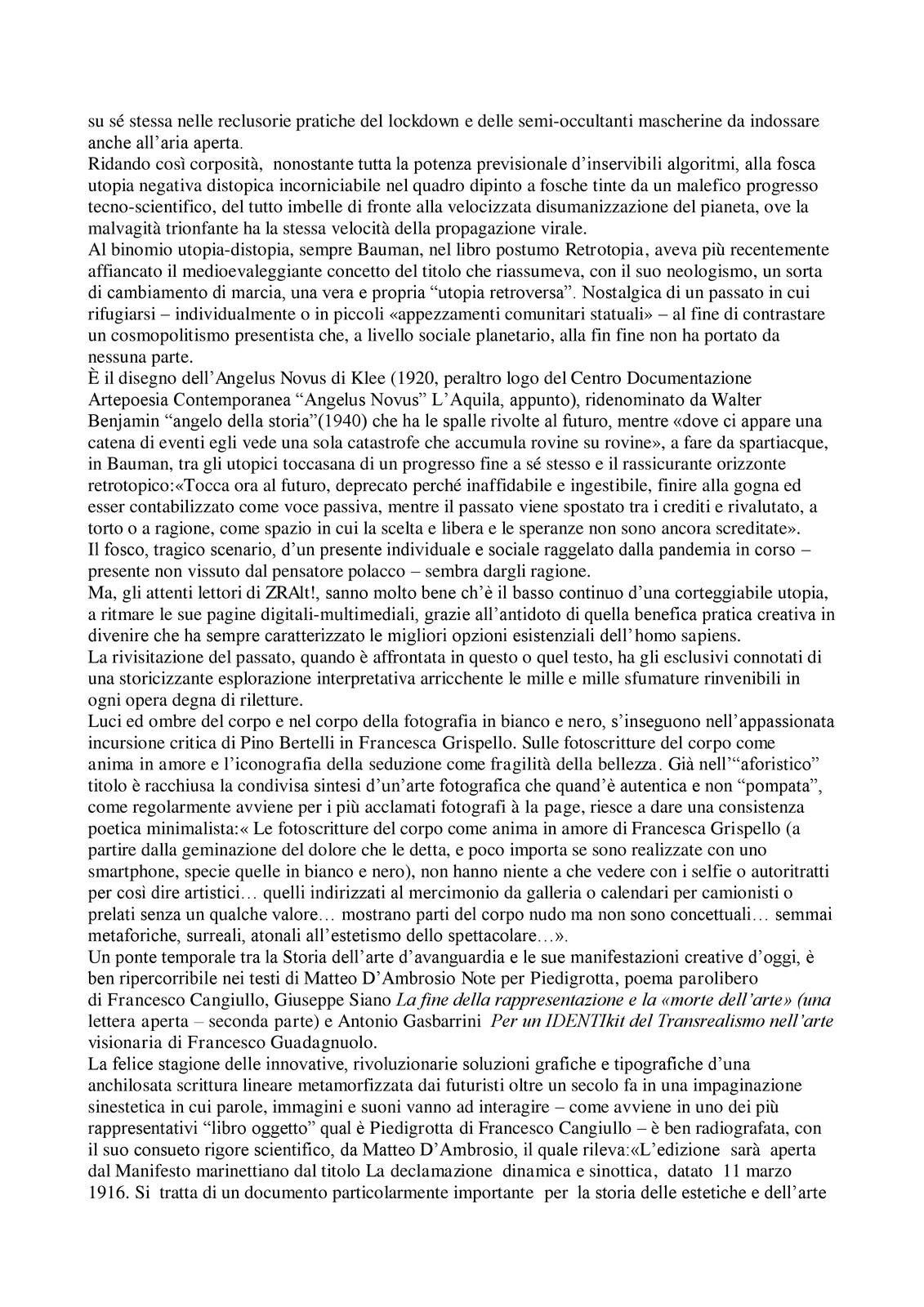 ZRAlt! Il numero doppio 31-32 della rivista culturale trimestrale multimediale è online. Editoriale di Antonio Gasbarrini