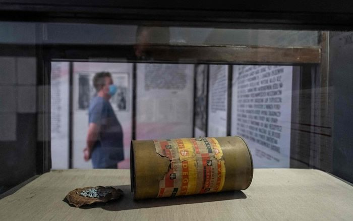 A file photo taken on July 21, 2020 shows a Zyklon-B gas canister on display in the museum in the former Stutthof death camp , in Sztutowo, Poland Credit: AFP