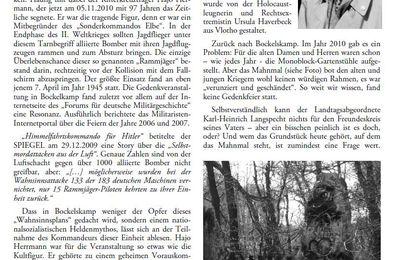 """Gedenkstein für das """"Sonderkommando Elbe"""" Nazi Gedenken in Bockelskamp"""