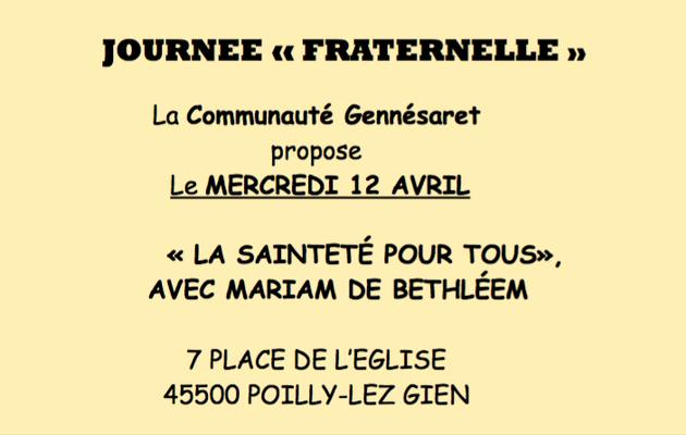 Mercredi 12 avril : Journée fraternelle à Gennesaret