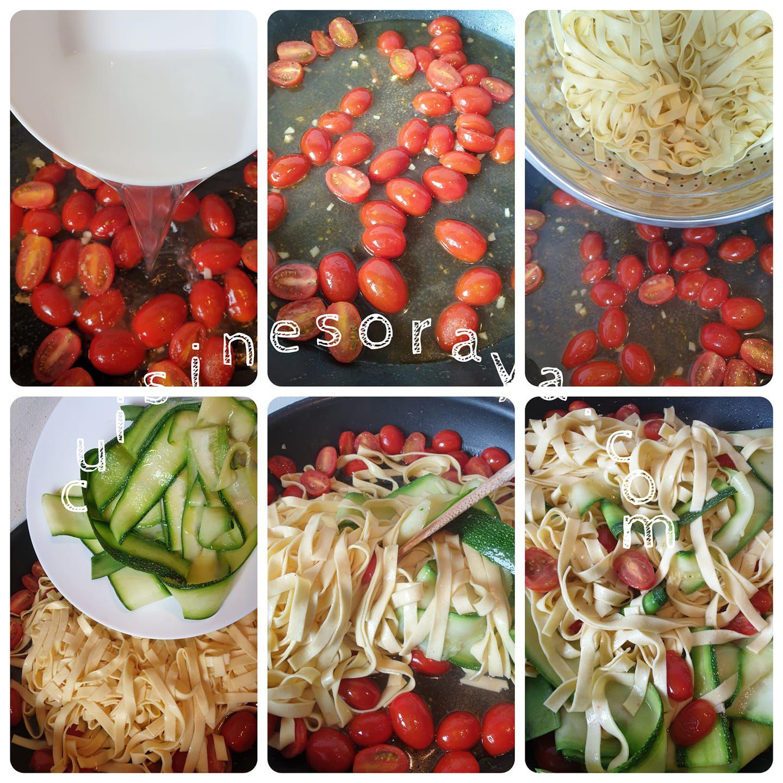 Pavé de saumon grillée et tagliatelles aux tomates, courgettes.
