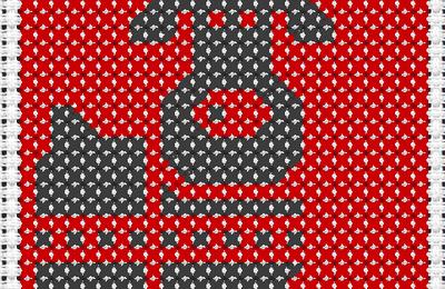 Renne noir sur fond rouge au point de croix