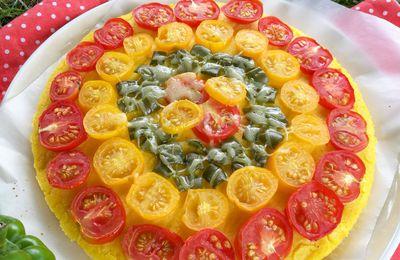 Pizza à la polenta, tomates et poivron