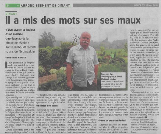 """André Elleboudt et son témoignage """"Le rivage d'un océan sans terre"""" dans l'Avenir"""
