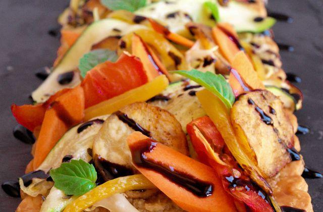 Tarte fine aux légumes grillées