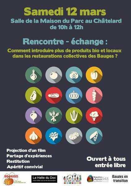 Rencontre samedi 12 mars de 10h à 12h : Comment introduire plus de produits bio et locaux dans les restaurations collectives du cœur des Bauges ?