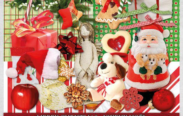 Mini Kit scrapbooking digital en téléchargement : Joyeux Noël - Merry Christmas