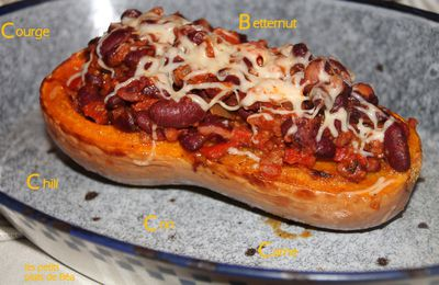 Courge butternut au chili con carne