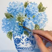 Fun watercolor painting video #watercolor #chinoiserie #hydrangea #blueflowers | Floral painting, Watercolor paintings tutorials, Watercolor painting techniques