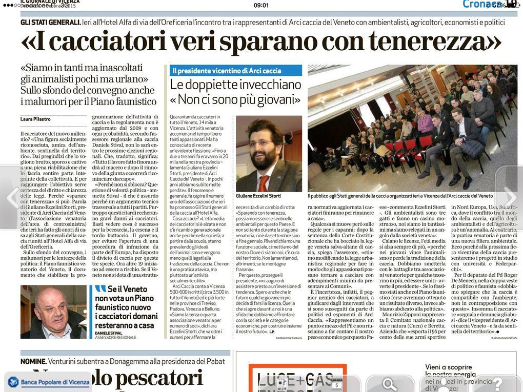 """Report di una bella giornata per la caccia. L'ARCI Caccia del Veneto: gli """"Stati Generali"""" 1ª Tappa per portare la caccia in Europa"""
