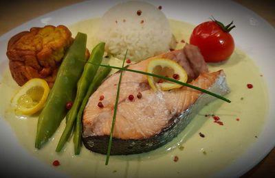 Pavé de saumon et sauce salicornes