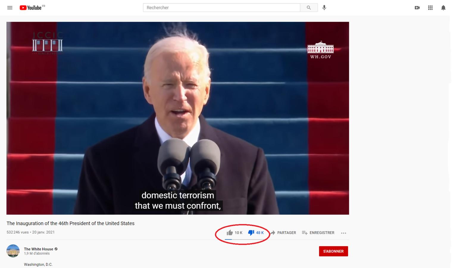 Biden : un président impopulaire disliké sur YouTube