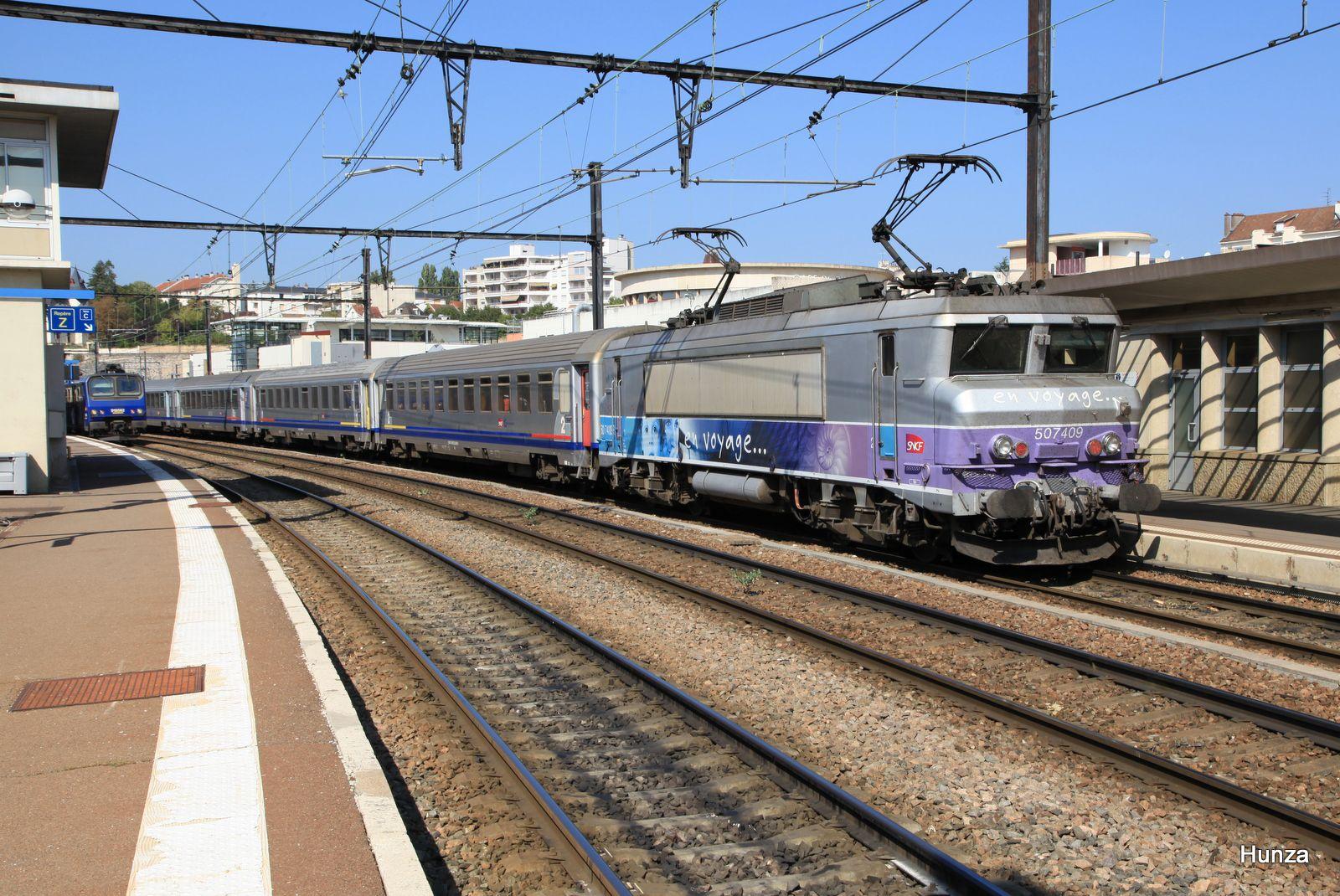 Dijon : BB 7409 livrée en voyage (8 septembre 2014)