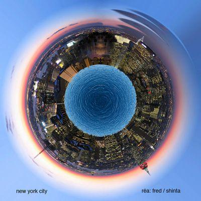 Montage photoshop effet petit terre d'une ville
